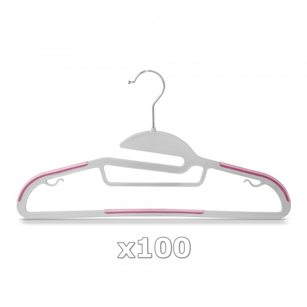 100 Stück - Kleiderbügel Kunststoff Anti-rutsch / extra dünn - Grau / Pink