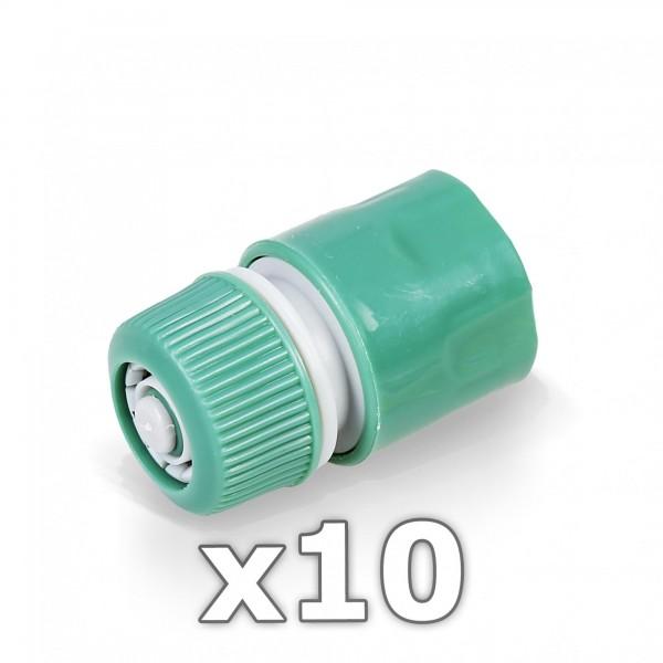 "10 x Berlan Schlauchstück 1/2"" Zoll mit Wasserstop -GREEN LINE-"