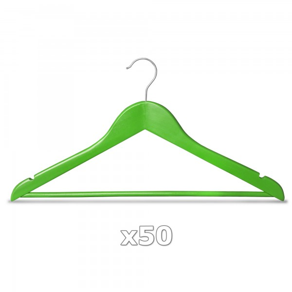 50 Stück Kleiderbügel Holz grün mit Hosenstange