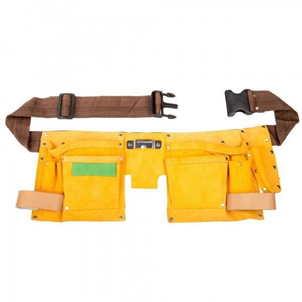 Werkzeuggürtel 10 Fächer aus Leder - 80 bis 130 cm Länge